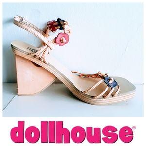NWOB - Dollhouse Platform Sandals w/Flower Design